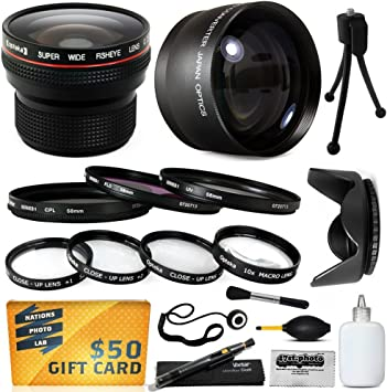 +1, +2, +4, 10x Macro Hood More for Panasonic Lumix DMC-GH3 Digital Camera 2.2x HD Telephoto + 4 Piece Close UP Kit + .20x Professional Fish Eye Lens UV + CPL + Warming 15 Piece Macro Fisheye Telephoto Lens Filters Set includes 3 Piece Filter Kit