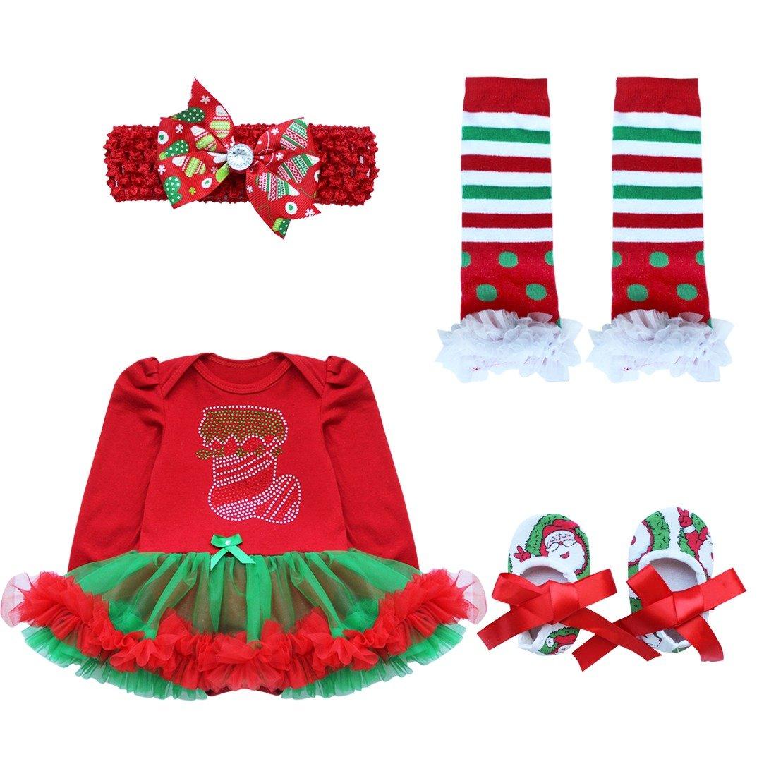 IEFIEL Déguisement Noël Ensembles Bébé Fille (Barboteuse + Bandeaux + Jambières + Chaussures) Vêtements Enfant 0-9 Mois