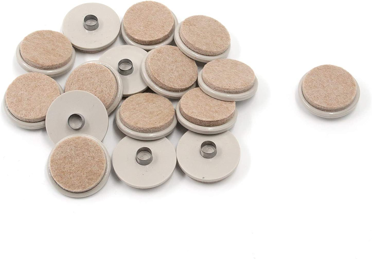 Antrader 16Pcs Nail-on Heavy Duty Felt Pads for Wood Furniture Leg, Prevent Floor Surfaces from Scratches, 1-1/2 Inch Round Furniture Protectors, Linen