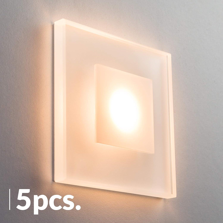 SET LED Treppenbeleuchtung Premium SunLED Max 230V 3W 3W 230V Glas Hochwertig Wandleuchten Treppenlicht mit Unterputzdose Treppen-Stufen-Beleuchtung Wandeinbauleuchte (Kaltweiß, 5er Set) e3e768