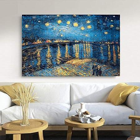 Elegante poesía Noche Estrellada en el río Ródano por ...