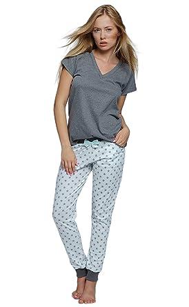 78ca58c421 Sensis stillvoller Baumwoll-Pyjama Schlafanzug Hausanzug aus feinem T-Schirt  und bequemer Hose (