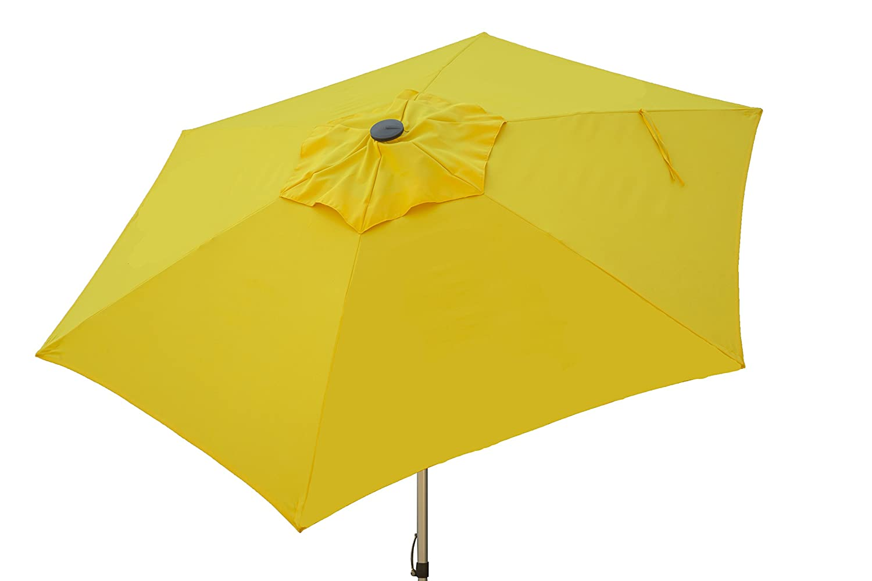 Heininger 1206 Sunflower Yellow 8.5 ft Push Up Market Style Patio Umbrella
