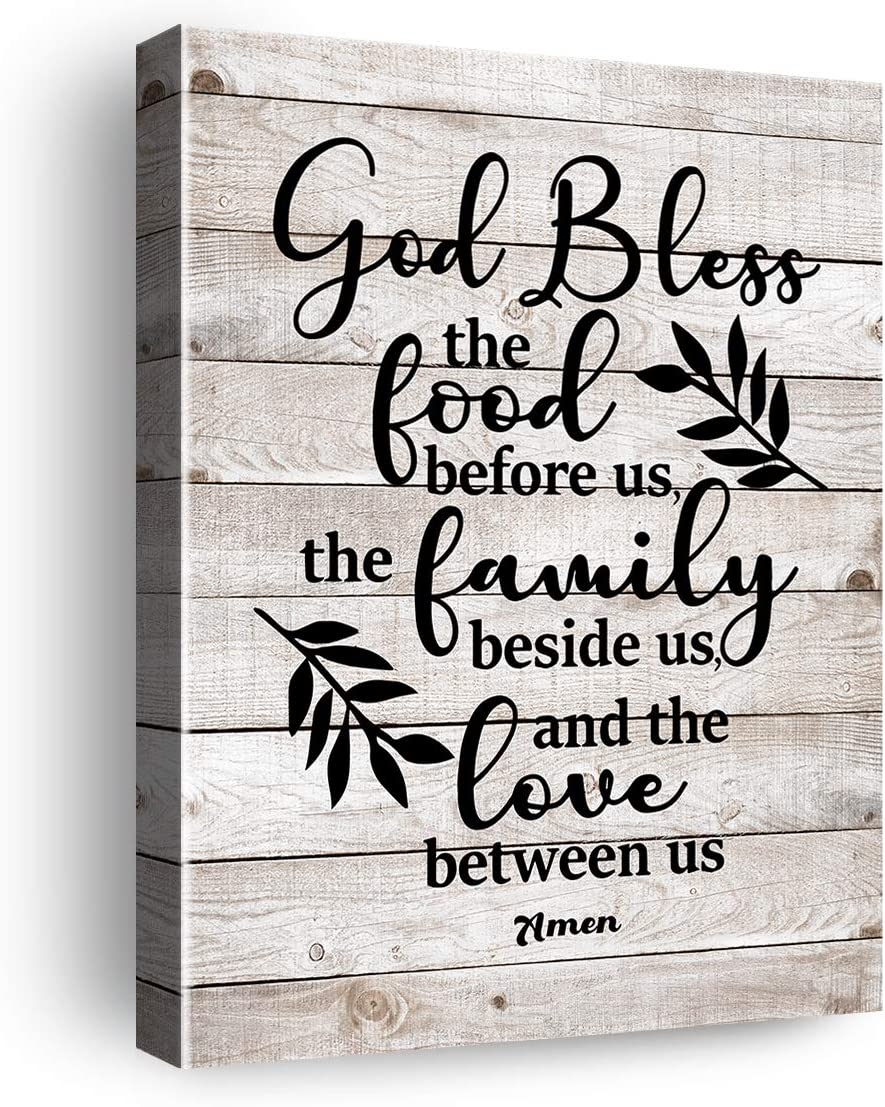 Inspirational Quote Bless The Food Before Us Amen Poster Canvas Wall Art & Tabletop Decoration Home Kitchen Decor - Rustic Farmhouse Meal Prayer Sign Faith Sayings Canvas Prints Painting Wall Art Decoration Gifts - Easel & Hanging Hook 8x10Inch
