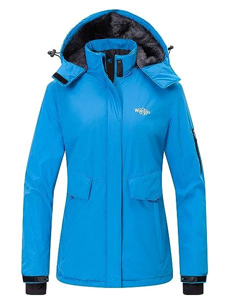 16248f05cc Wantdo Women s Mountain Ski Jacket Waterproof Rain Coat with Hood Windproof  Short Parka Winter Anorak Daily