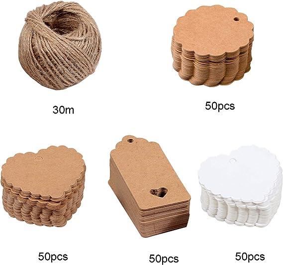 50pcs Papier Kleine Mini Hängeetiketten Geschenkanhänger Papieranhänger