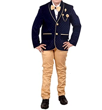 arshia fashions boys coat blazer suit with shirt pant and bow party wear blue