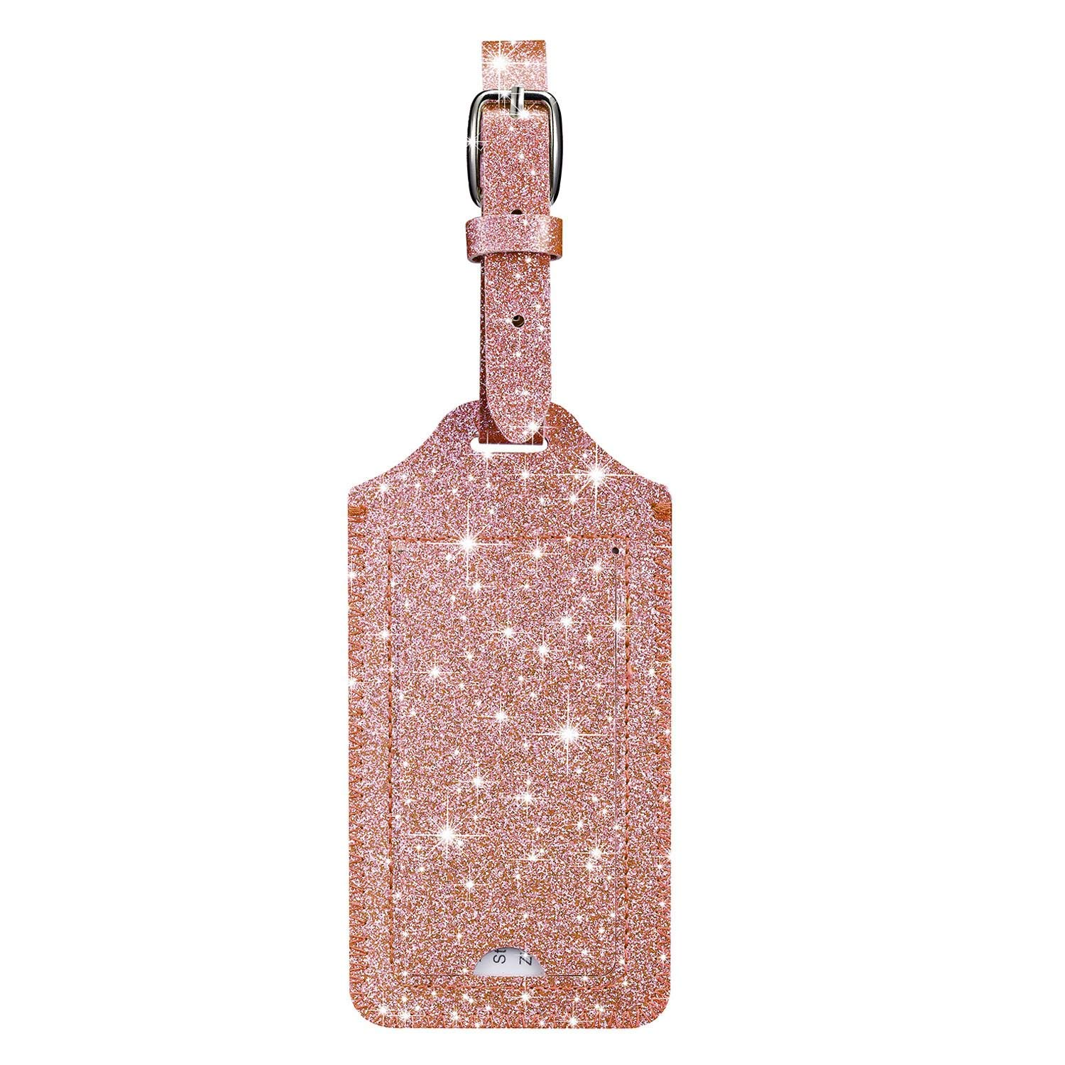 2 Pack Rose Gold HOTCOOL Leather Luggage Tags Travel Bag Tags Luggage Tags