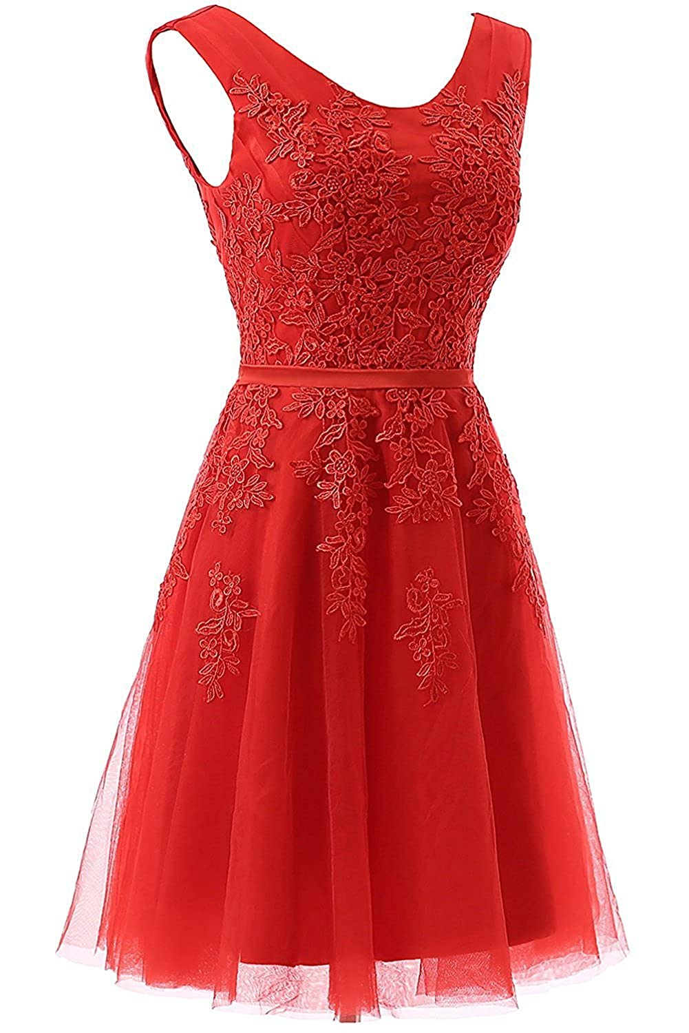 58a2d46ac34 DarlingU Women s Appliques Round Neck Homecoming Dress Lace Prom Party  GownHC231 at Amazon Women s Clothing store