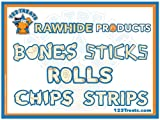 123 Treats - Rawhide Chips Dog Treats Free-Form for Dogs | Quality Bulk Beef Hide Dog Chews - No Additives, Chemicals or Hormones from Natural Grass Fed Livestock