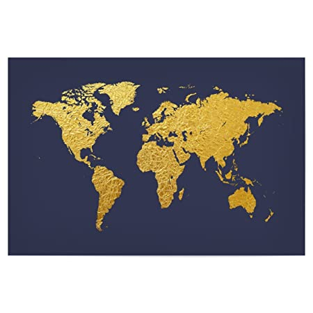 artboxONE Poster Maps World Map Gold on Blue 60x40 cm design