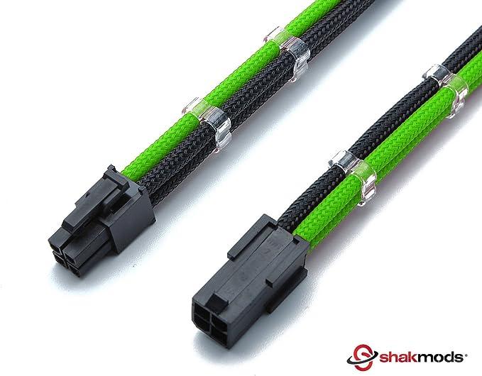 Shakmods 4/ 4/broches ATX carte m/ère CPU Vert et Noir /à manches Heatshrinkless c/âble dextension avec gratuit 2/peignes de c/âble de 30/cm