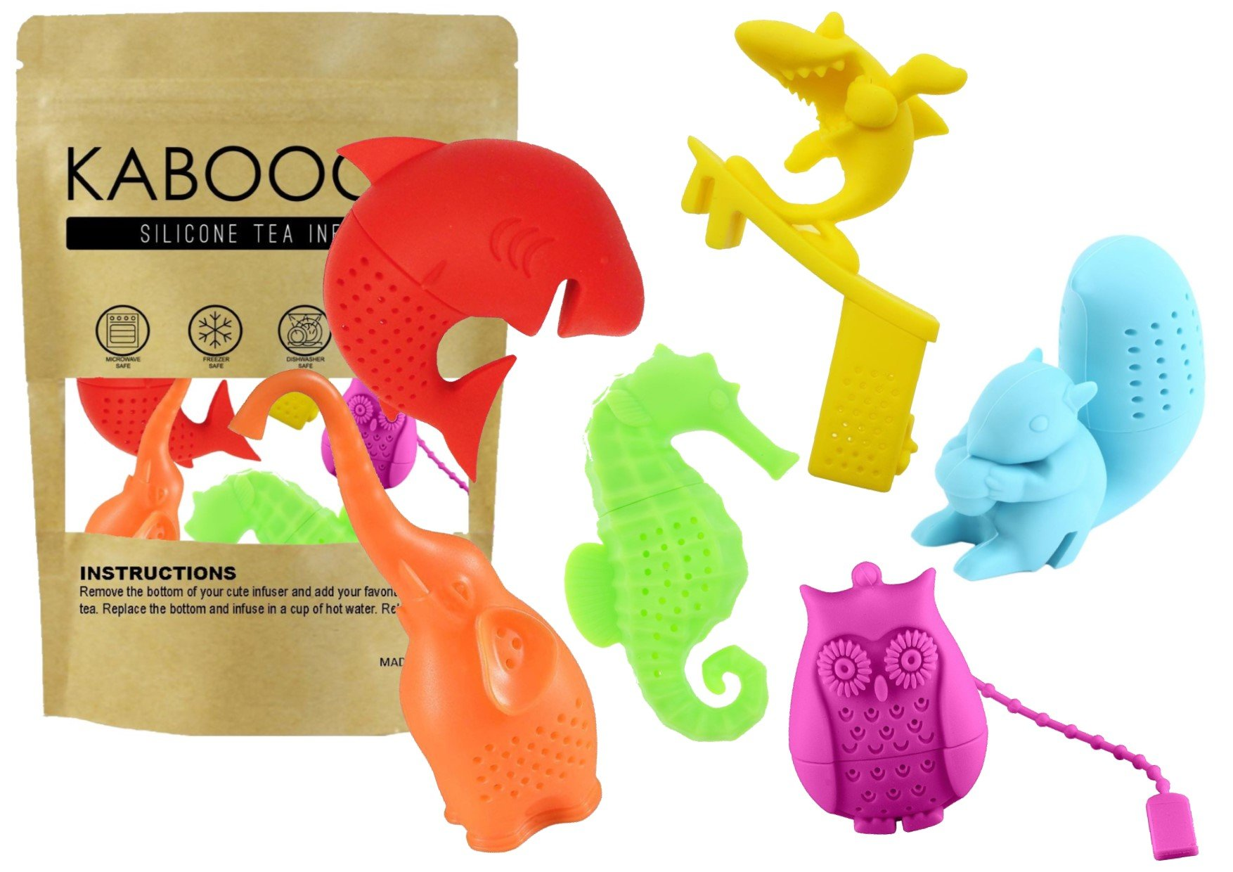 Animal Tea Party 6 Pack Silicone Tea Infusers, Reusable Cute Loose Leaf Tea Diffuser Strainer Gift Pack. Includes Elephant, Squirrel, Seahorse, Owl, Shark & Surfing Shark, by KABOOCHY