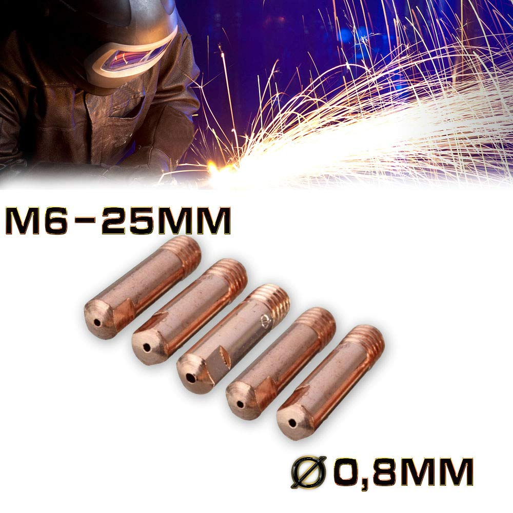 Jurmann Trade GmbH® 5 x Stromdüse MIG/MAG M6-25mm Ø 0, 8mm Cu-E MB14/15/24 Schweißspitze Kontaktrohr hergestellt für filestorm.sro