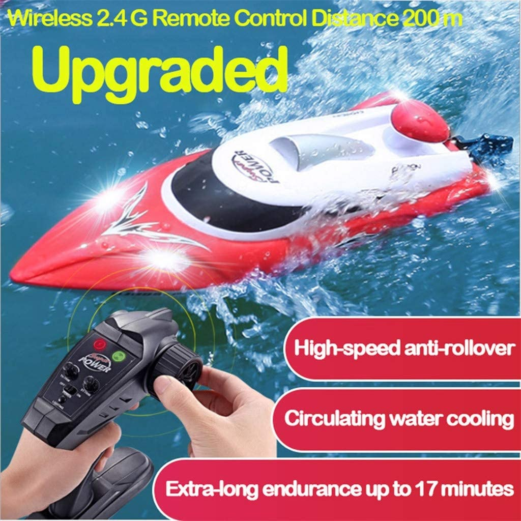 DEtrade RC Hochgeschwindigkeitsboot 35 km//h 200 m Steuerentfernung Schnelles Schiff RC-Bootsrennen Hohe Geschwindigkeit Ferngesteuertes Boot