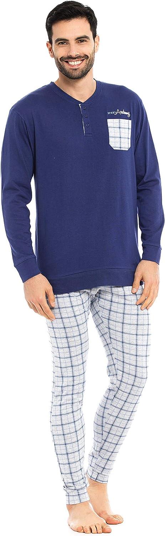 Blu KISENE Kiwear Pigiama da Uomo in Puro Cotone Maglia con Chiusura a Bottoncini Pantalone a Quadroni