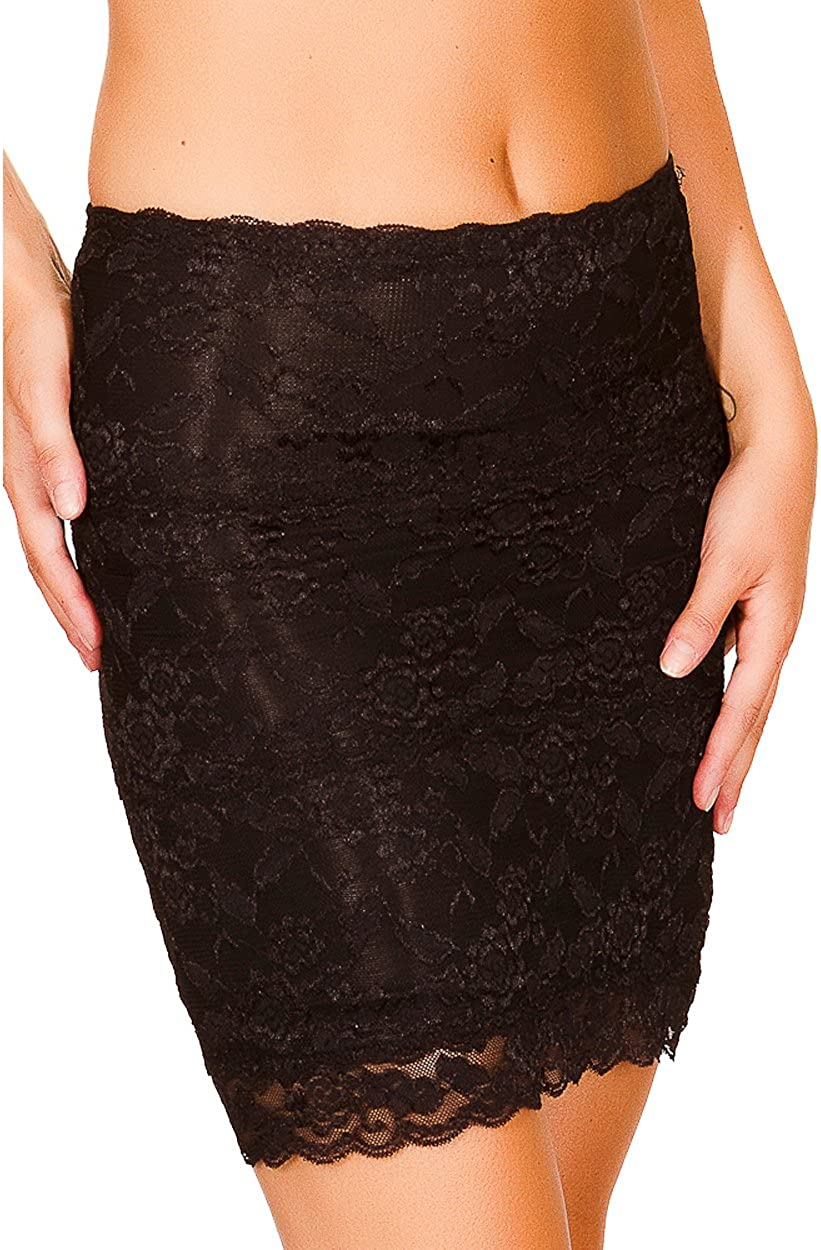 Black Fuchsia Womens Secret Lace Shaping Half Slip Shapewear Skirt