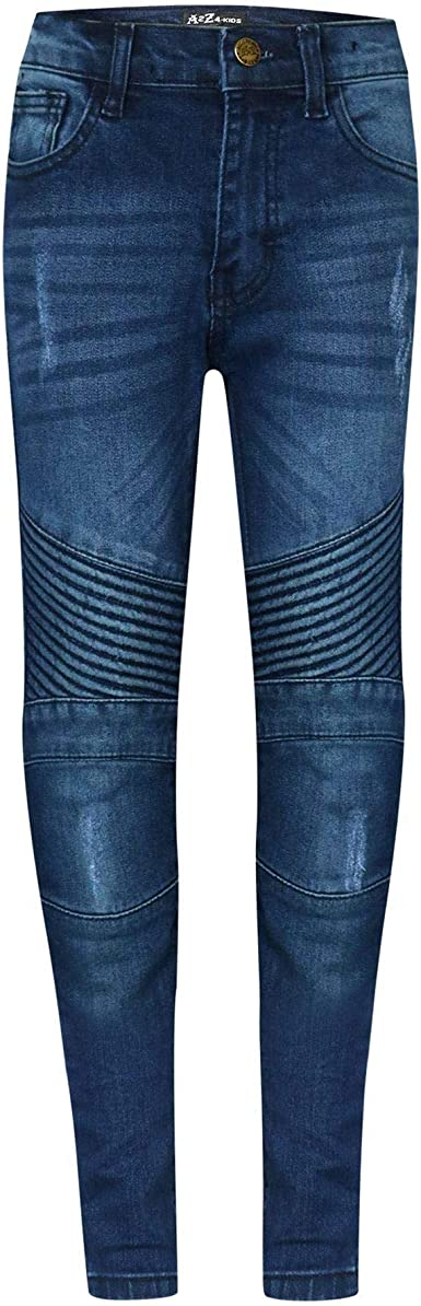 A2Z Kids Boys Stretchy Jeans Designers Mid Blue Ripped Skinny Denim Pants Trousers