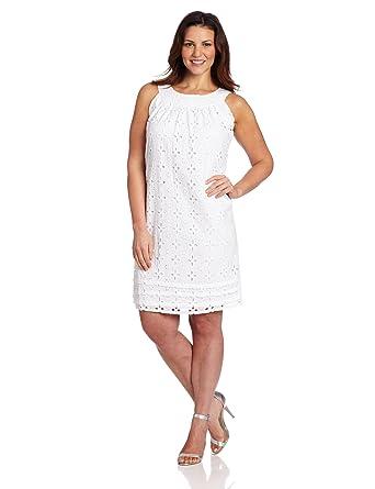 Tiana B Womens Plus Size Eyelet Trapeze Dress White 18 At Amazon
