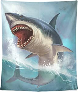 alaza Painting Leaping Great White Shark Polyester Dorms Decor Tapestry Vertical Large 51x60 Inch Home Decorate