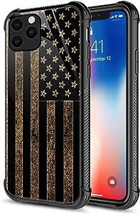 iPhone 12 Mini Case, Golden USA Flag iPhone 12 Mini Cases for Girls Boys Organic Glass [Anti-Scratch] Fashion Cute Pattern Design Cover Case for iPhone 12 Mini 5.4-inch Black Gold American Flag