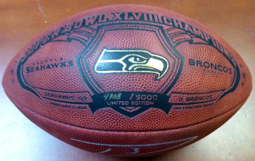 Russell Wilson Signed Limited Edition Super Bowl Leather Football Seattle Seahawks RW Autographed NFL Footballs