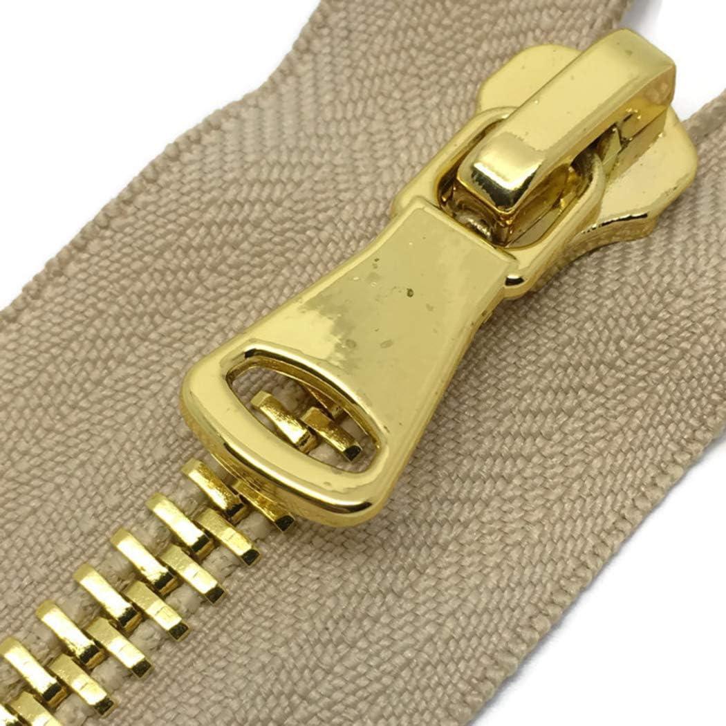 10 cm Cremallera #3 de oro pulido con extremo cerrado beige