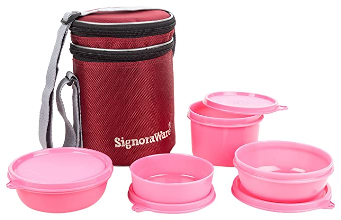 Signoraware Perfect Lunch Box with Bag, 15cm, Pink Lunch Boxes