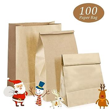 Woopus 100 Kraft marrón Bolsas de Papel con Base 9 x 18 x ...