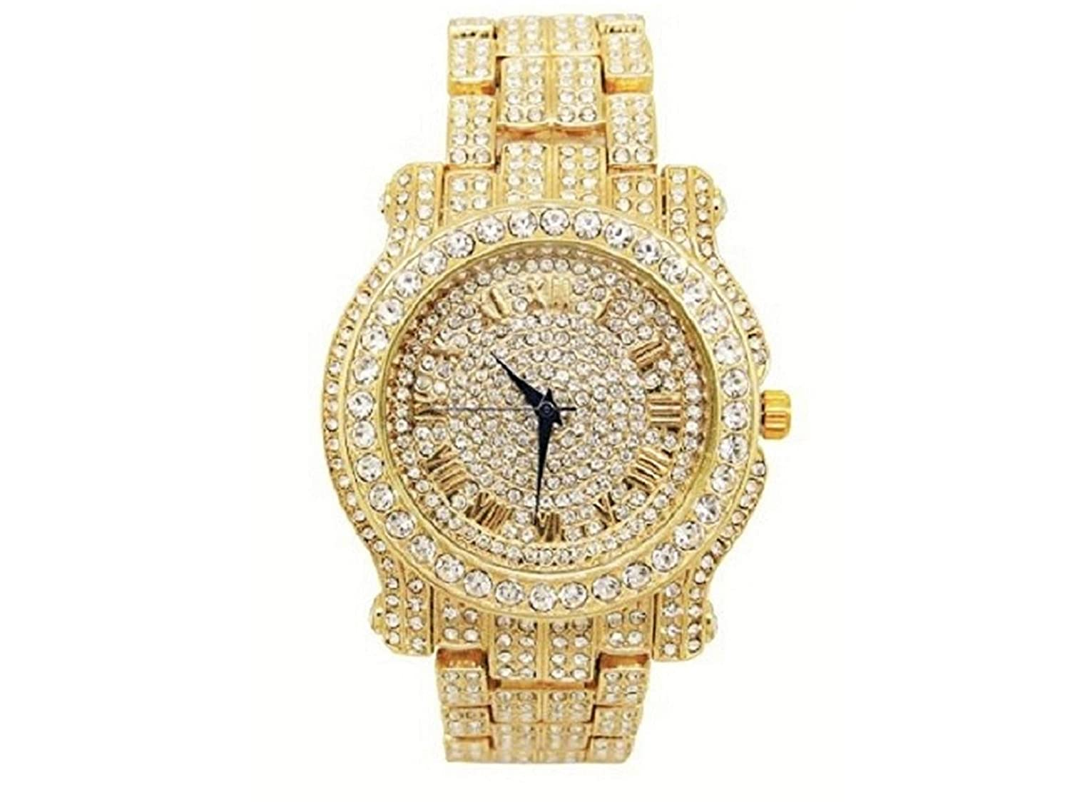 6878dae16f15b Bling-ed Out Round Luxury Mens Watch w/Bling-ed Out Cuban Bracelet - L0504B  - Cuban Gold