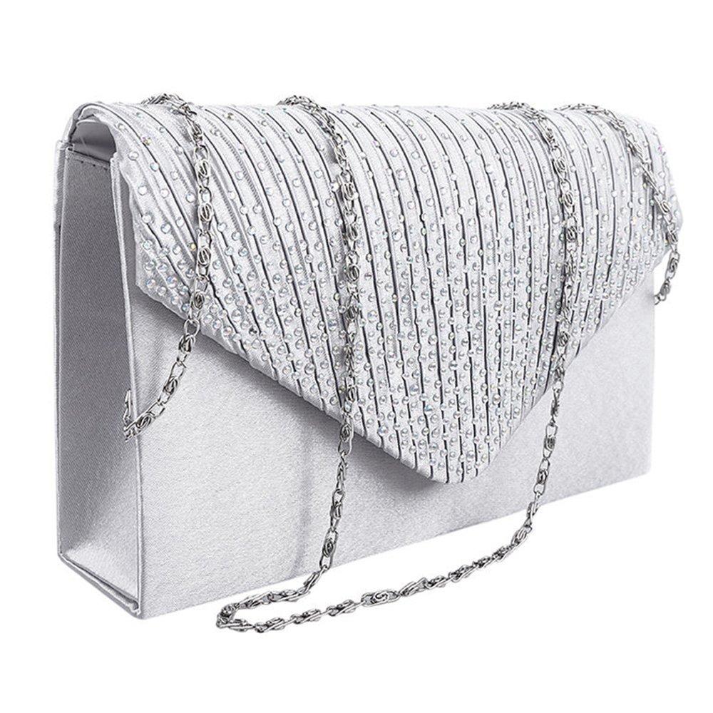 9cc3f695e Women Clutch Bag Rhinestone Frosted Satin Pleated Envelope Shoulder Bag  Prom Evening Handbag Bridal Wedding Purse (Silver): Amazon.in: Shoes &  Handbags