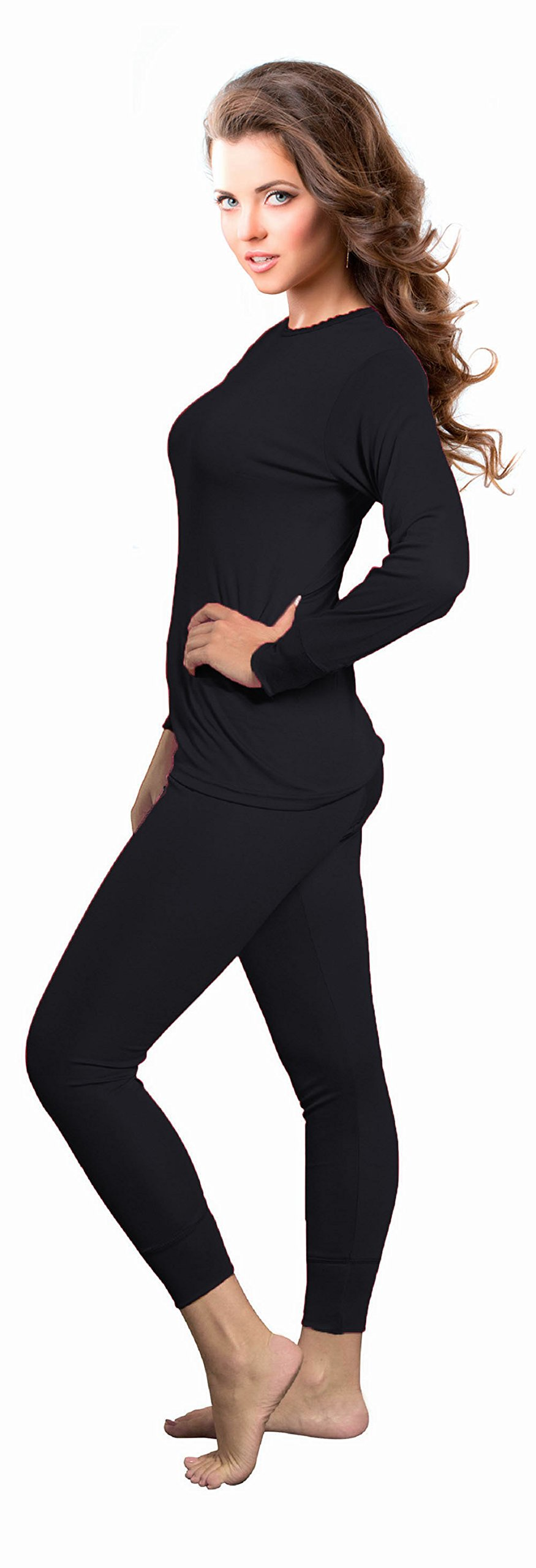 Rocky Womens Thermal 2 Pc Long John Underwear Set Top and Bottom Smooth Knit (X-Small, Black)
