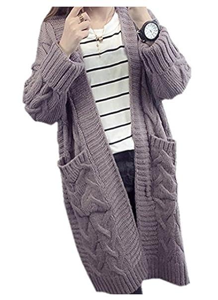 nuevo concepto 182e2 c977b Cardigan Mujer YOGLY Cardigan Mujer Largo de Punto Grueso ...