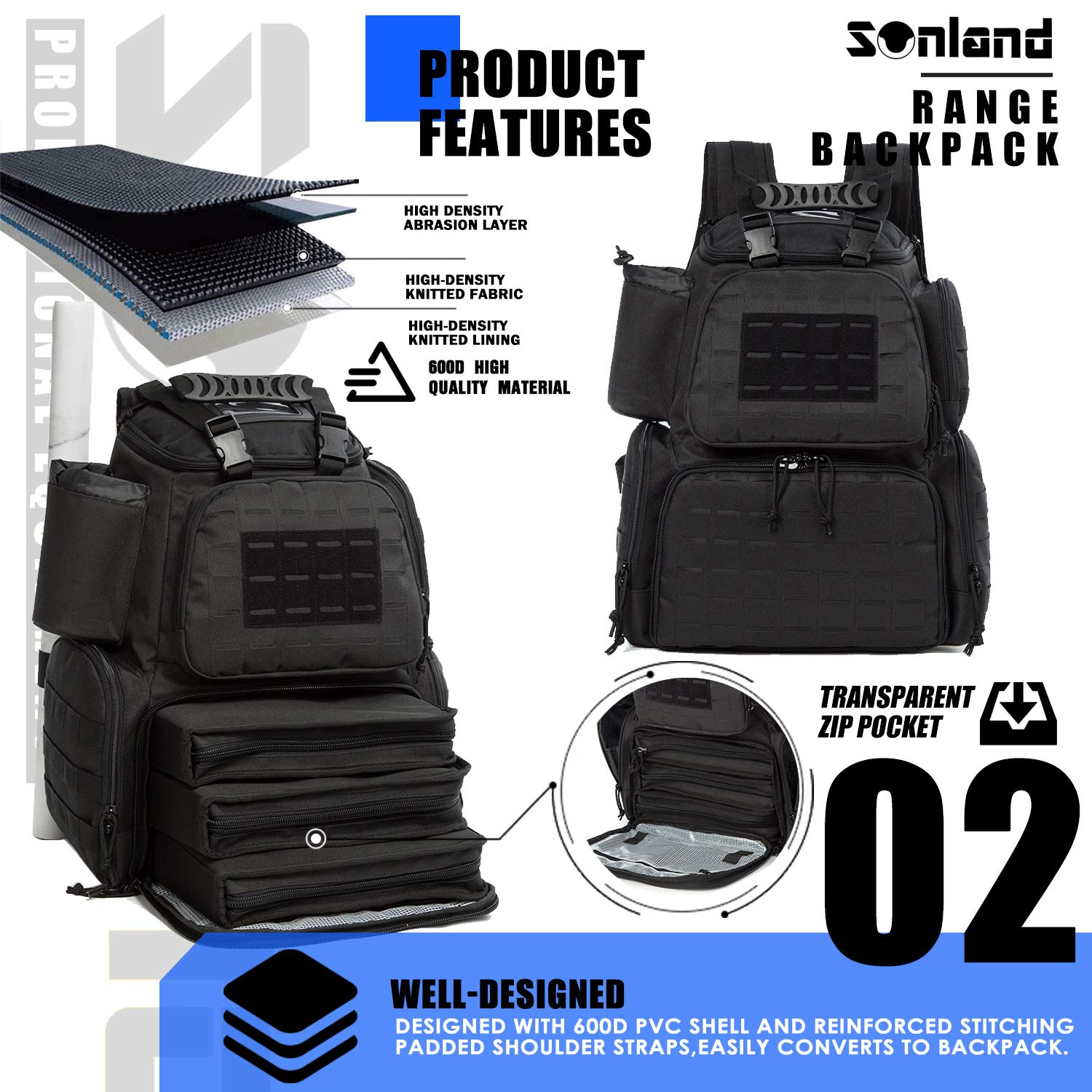SUNLAND Range Bag Backpack,Gun Backpack with 3-Pistol Case and Protective Rain Cover,Tactical molle System & Lockable zippers-18'' x 14'' x 8'' (Blk) by SUNLAND (Image #3)