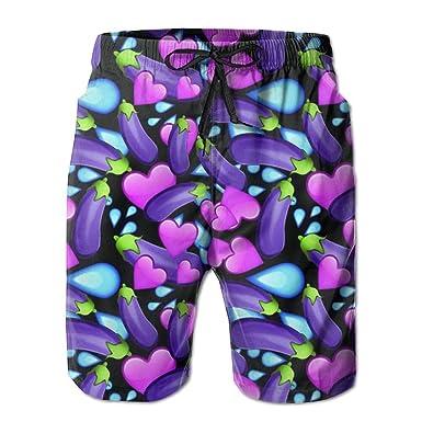 0a8a0321294dd Amazon.com: Mens Beach Board Short Love Eggplant Swim Trunks: Clothing