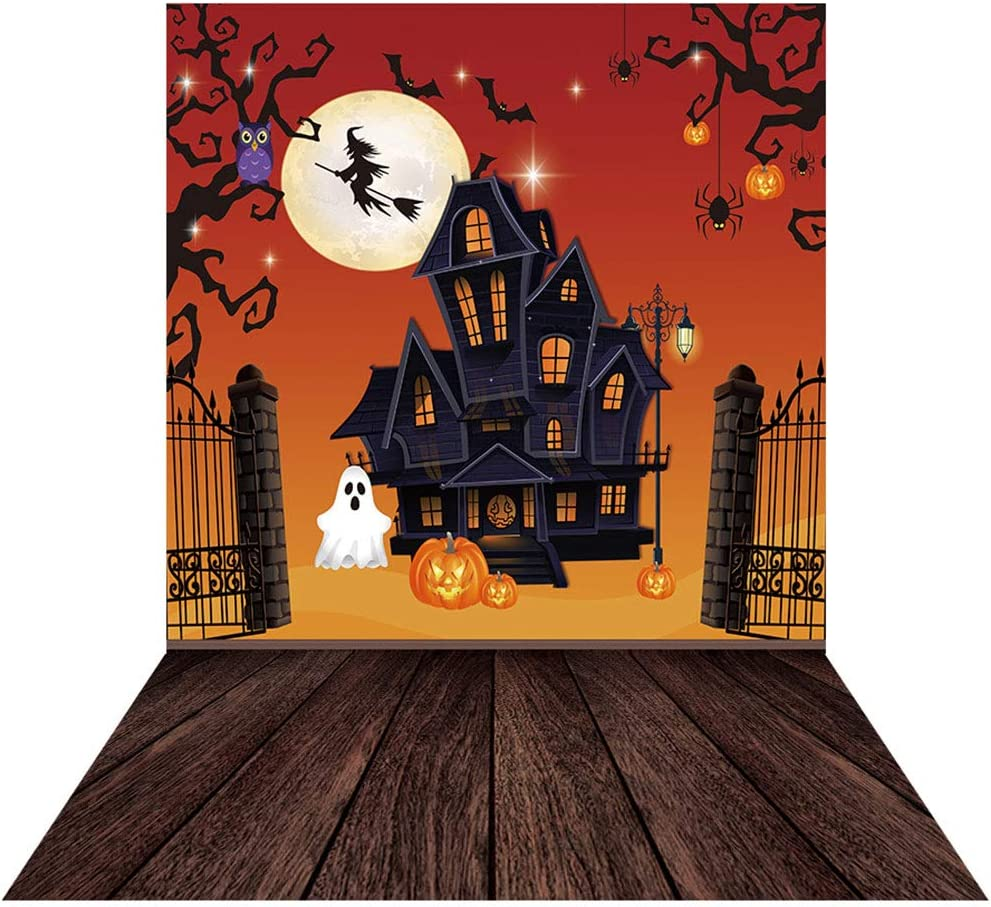 Allenjoy 5x7ft Halloween Moonlight Castle Backdrop for Photography Van Winkle Pumpkin Wizard Background for Boys Girls Children Birthday Party Trick or Treat Newborn Baby Shower Banner Home Decors