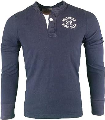 Hollister - Camiseta de Manga Larga - Camiseta - Básico - Manga Corta - para Hombre Azul Azul Marino Small: Amazon.es: Ropa y accesorios