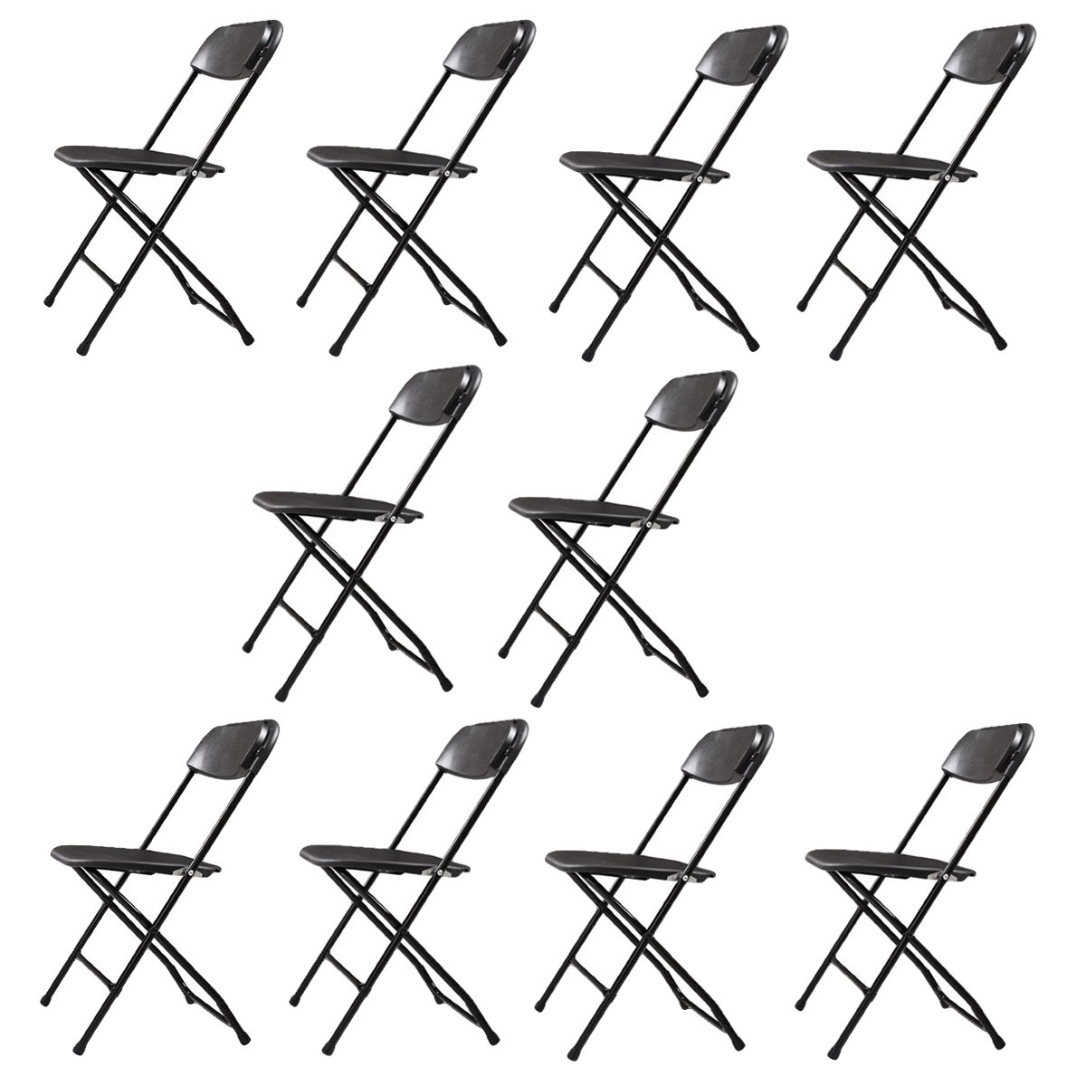 Sandinrayli 10 PCs Black Plastic Folding Chairs Commercial Quality Stackable Outdoor Event Chairs by Sandinrayli