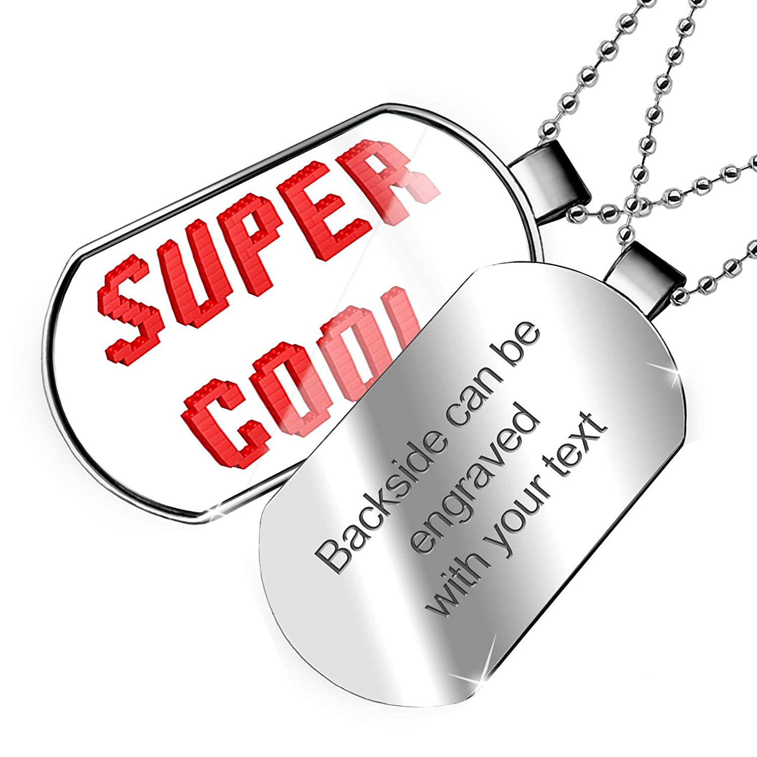 NEONBLOND Personalized Name Engraved Toy Bricks Dogtag Necklace