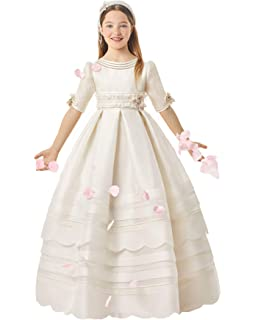 Amazon.com: Vestido de primera comunión de manga corta para ...
