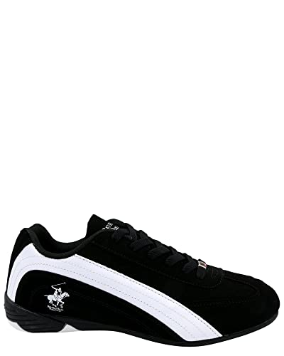 Beverly Hills Polo Club Mens Turbo Fashion Sneaker,Black/White,6.5