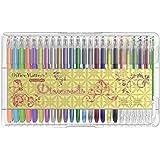 officematters Set 48 penne Gel con custodia - 50% di inchiostro in più – Perfetti per Libri da Colorare– (Glitter, Neon, Pastello, Metallico)