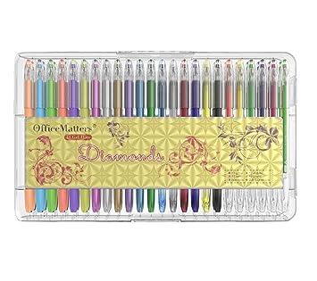 officematters 48 colores de Bolígrafos de Gel con Caja, 50% Tinta Más para Libros