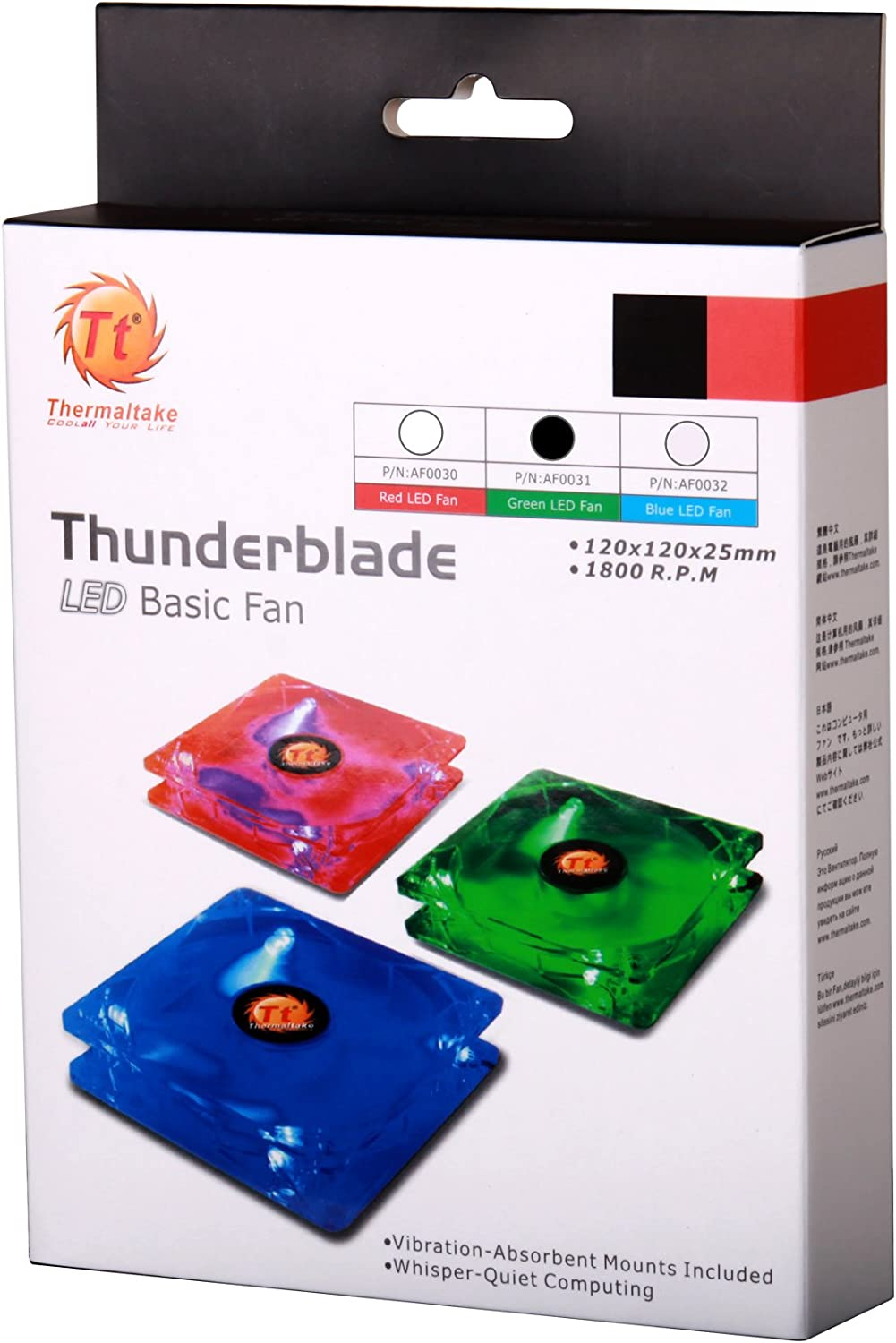 Thermaltake Thunderblade 120 mm 4Led Case Fan 3 and 4 Pin AF0031 Green