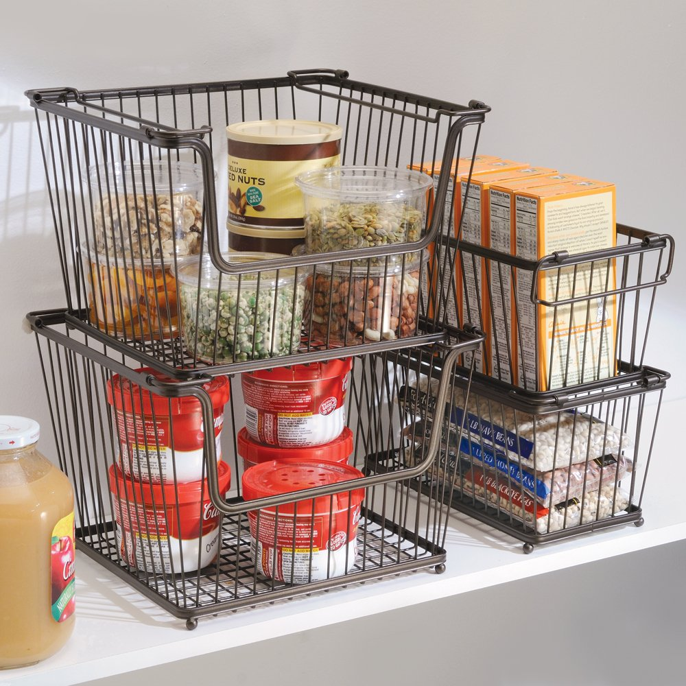 Amazon.com: InterDesign York Lyra Kitchen Organizer Basket   Large Open Wire  Pantry Storage Bin, Bronze: Home U0026 Kitchen
