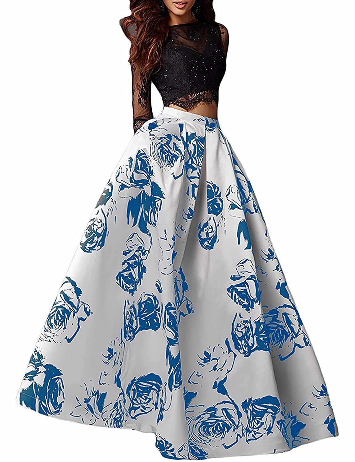 bluee Yiweir Women's Two Piece Prom Dresses 2018 Long Floral Print Lace Beads Formal Gowns YP038