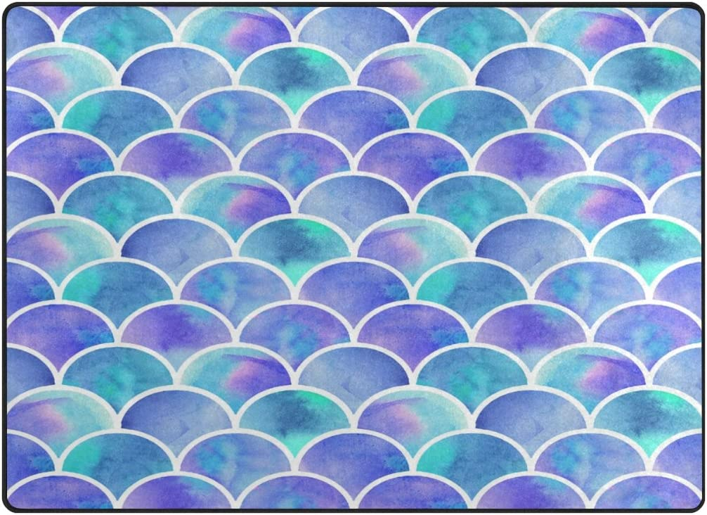 ALAZA Rainbow Watercolor Scales of Mermaid Area Rug Rugs for Living Room Bedroom 5 3 x4
