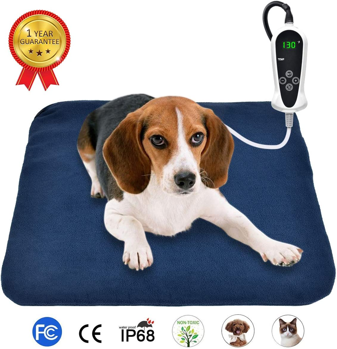 """RIOGOO Pet Heating Pad, Electric Heating Pad for Dogs and Cats Indoor Warming Mat with Auto Power Off (M:18"""" x 18"""") : Pet Supplies"""