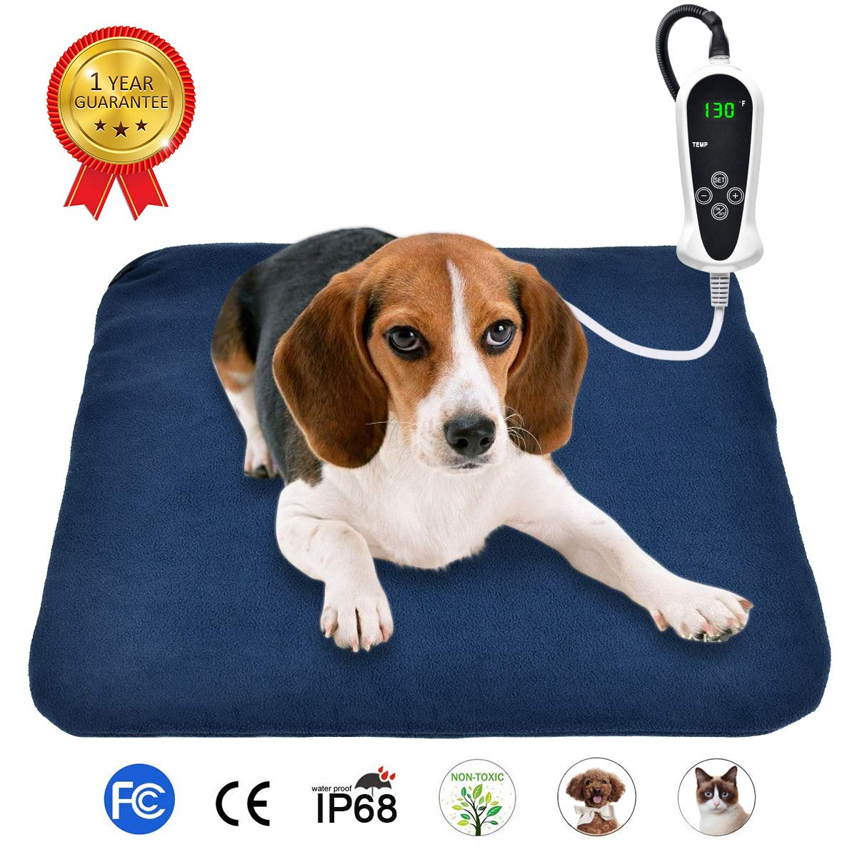 RIOGOO Pet Heating Pad, Electric Heating Pad for Dogs and Cats Indoor Warming Mat with Auto Power Off 18'' x 18'' by RIOGOO