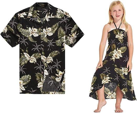 Camisa Hawaiana Luau con Traje a Juego para Hombres Vestido Chica con Verde Palm en Negro: Amazon.es: Ropa y accesorios